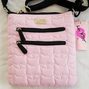 Betsey blush pink cat pattern faux leather bag